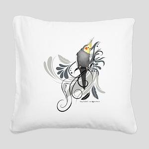 Gray Cockatiel Square Canvas Pillow