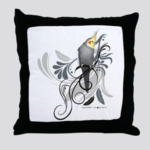 Gray Cockatiel Throw Pillow