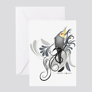 Gray Cockatiel Greeting Cards