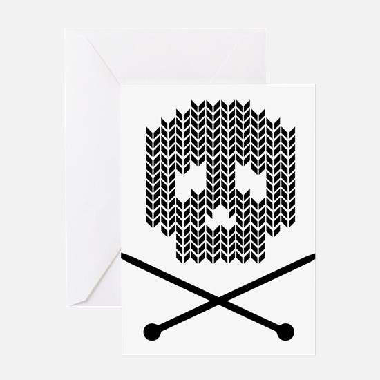 Knit Skull and Crossbones Greeting Cards