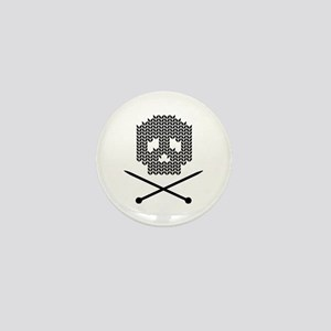 Knit Skull and Crossbones Mini Button
