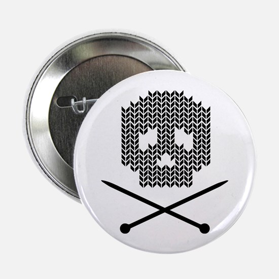 """Knit Skull and Crossbones 2.25"""" Button (10 pack)"""