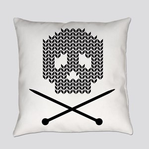 Knit Skull and Crossbones Everyday Pillow