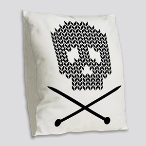 Knit Skull and Crossbones Burlap Throw Pillow