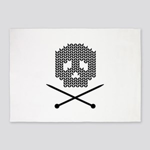 Knit Skull and Crossbones 5'x7'Area Rug