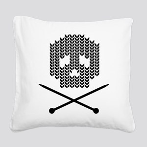 Knit Skull and Crossbones Square Canvas Pillow
