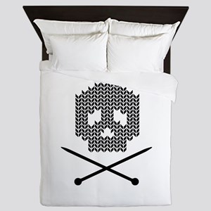 Knit Skull and Crossbones Queen Duvet