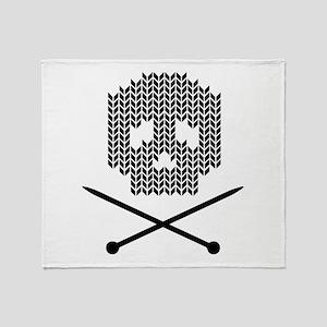 Knit Skull and Crossbones Throw Blanket