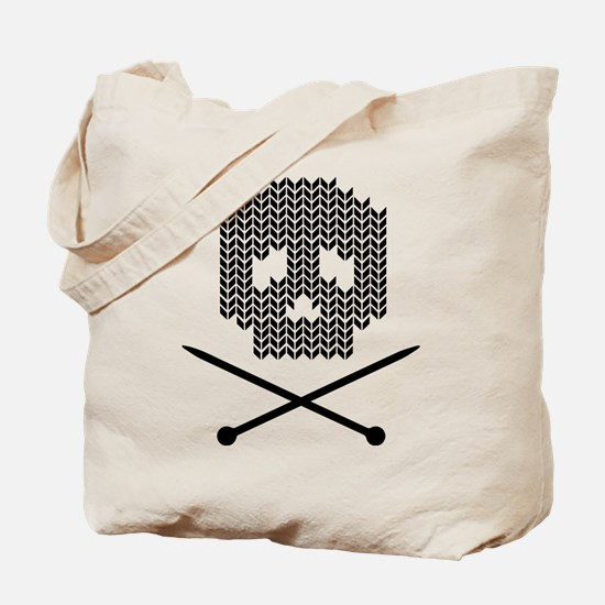 Knit Skull and Crossbones Tote Bag