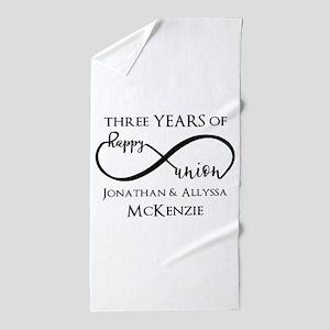 Custom Anniversary Years and Names Inf Beach Towel