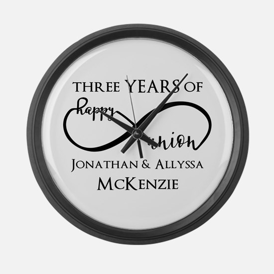Custom Anniversary Years and Name Large Wall Clock