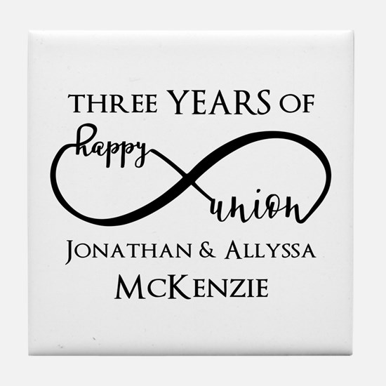 Custom Anniversary Years and Names In Tile Coaster