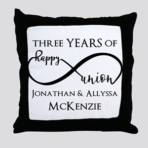 Custom Anniversary Years and Names In Throw Pillow