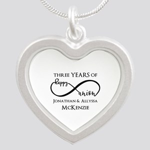 Custom Anniversary Years and Silver Heart Necklace