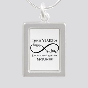 Custom Anniversary Years Silver Portrait Necklace