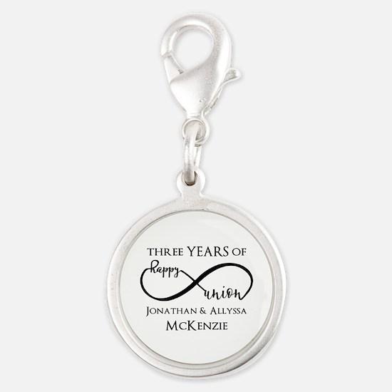 Custom Anniversary Years and N Silver Round Charm