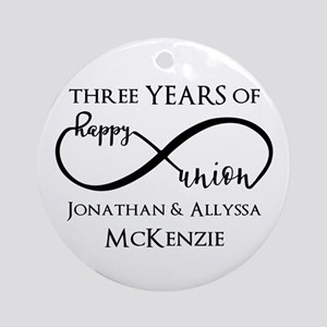 Custom Anniversary Years and Names Round Ornament