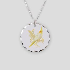 Lutino Cockatiel Necklace Circle Charm