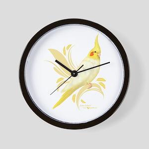 Lutino Cockatiel Wall Clock