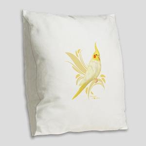 Lutino Cockatiel Burlap Throw Pillow