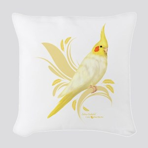 Lutino Cockatiel Woven Throw Pillow