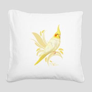 Lutino Cockatiel Square Canvas Pillow