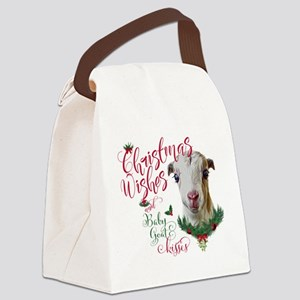 Christmas Wishes Baby Goat Kisses Canvas Lunch Bag
