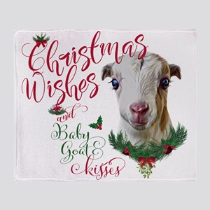 Christmas Wishes Baby Goat Kisses - Throw Blanket