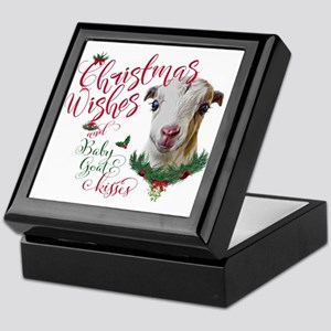 Christmas Wishes Baby Goat Kisses - L Keepsake Box