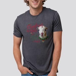 Christmas Wishes Baby Goat Mens Tri-blend T-Shirt