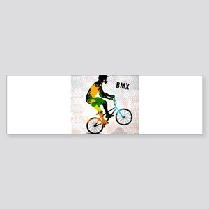 BMX Rider with Abstract Paint Splot Bumper Sticker