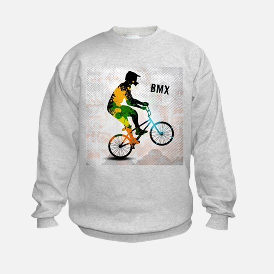BMX Rider with Abstract Paint Splo Sweatshirt