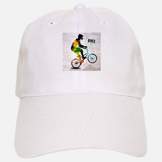 BMX Rider with Abstract Paint Splotches Colori Baseball Baseball Cap