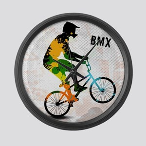 BMX Rider with Abstract Paint Spl Large Wall Clock