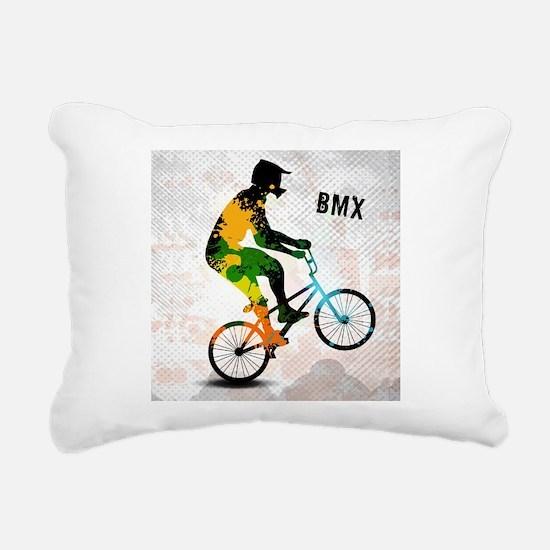 BMX Rider with Abstract Rectangular Canvas Pillow