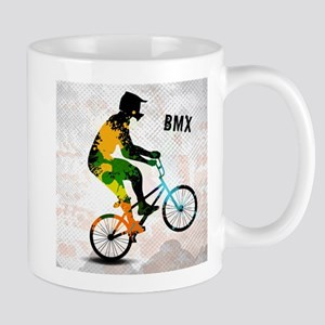 BMX Rider with Abstract Paint Splotches Color Mugs