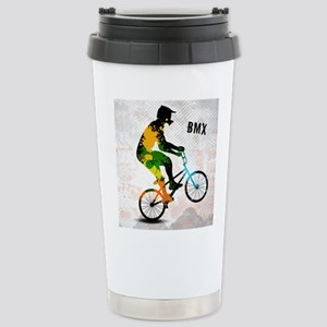 BMX Rider with Abstract Stainless Steel Travel Mug