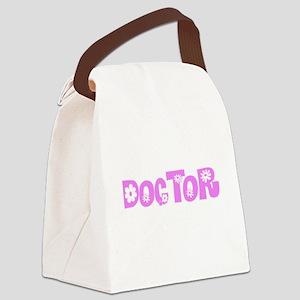 Doctor Pink Flower Design Canvas Lunch Bag