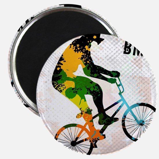 BMX Rider with Abstract Paint Splotches Co Magnets