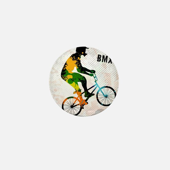 BMX Rider with Abstract Paint Splotche Mini Button