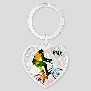 BMX Rider with Abstract Paint Splotches Keychains