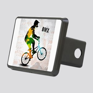 BMX Rider with Abstract Pa Rectangular Hitch Cover