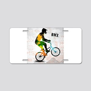 BMX Rider with Abstract Pai Aluminum License Plate