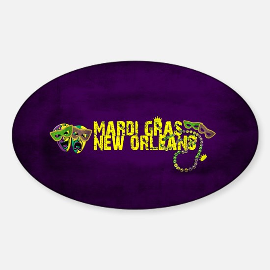 Mardi Gras New Orleans Mask Beads Crown Decal