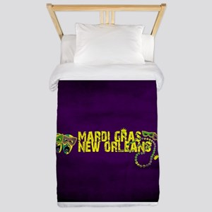 Mardi Gras New Orleans Mask Beads Crown Twin Duvet