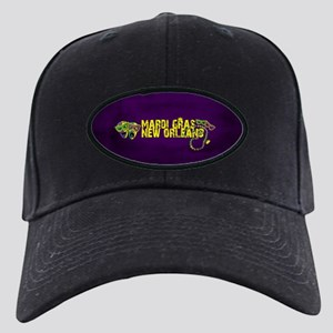 Mardi Gras New Orleans Mask Beads Crown Black Cap