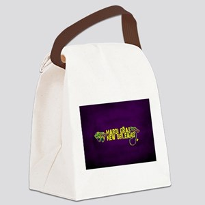 Mardi Gras New Orleans Mask Beads Canvas Lunch Bag