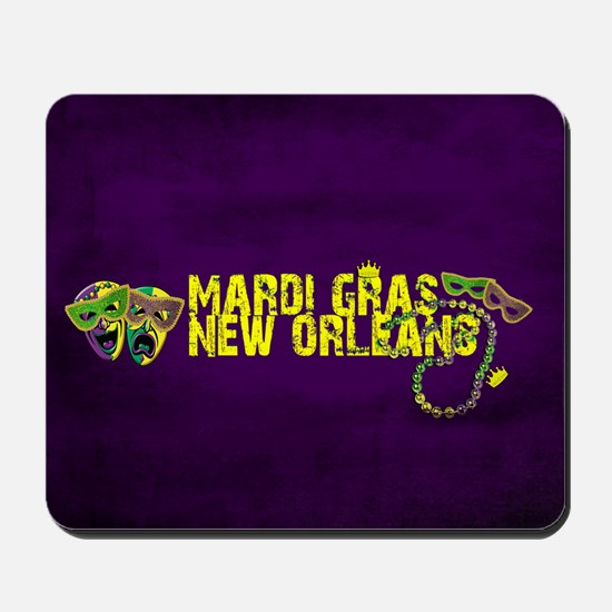 Mardi Gras New Orleans Mask Beads Crown Mousepad