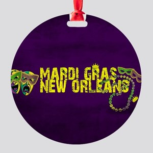 Mardi Gras New Orleans Mask Beads C Round Ornament