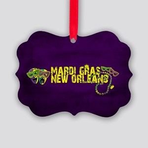 Mardi Gras New Orleans Mask Beads Picture Ornament